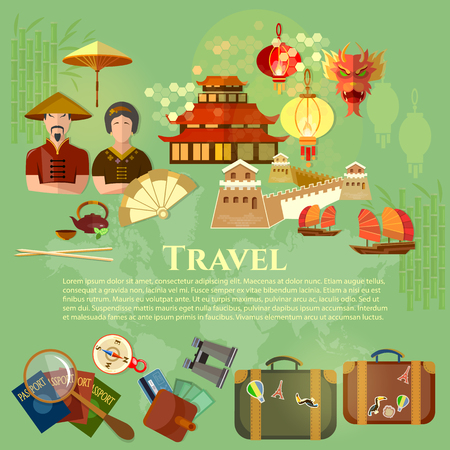 ancient architecture: Welcome to China chinese traditions and culture journey to Asia vector illustration