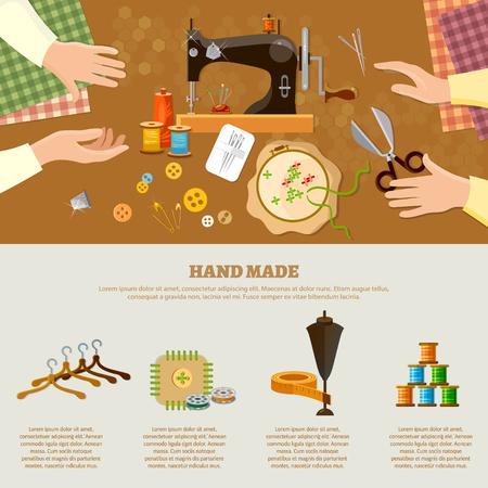 Tailor infographics seamstress fashion designer needlework lessons team hands vector illustration