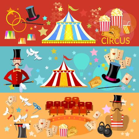 illusionist: Circus banner circus performance tent magic hat tricks vector illustration