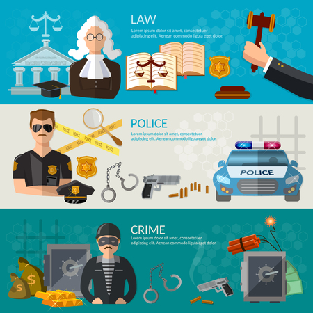 defendant: System of justice banner courtroom defendant and the judge law criminal trial judge in court vector illustration