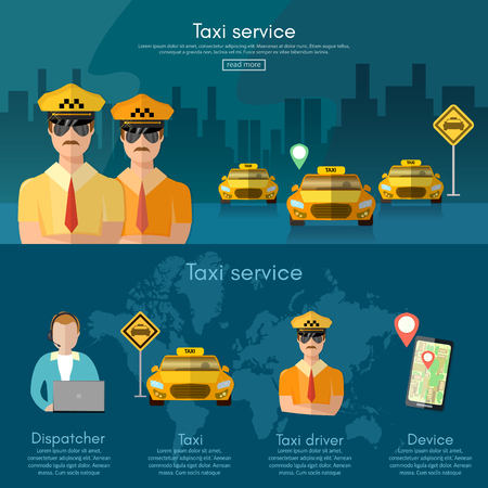 yellow cab: Taxi service banner book a taxi to the city dispatcher taxi call vector illustration