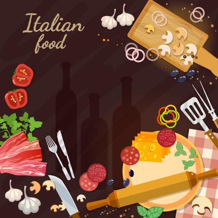 Italiaans eten ingrediënten italiaans voedselingrediënten ingrediënten op de keukentafel keukengerei koken pizza vector illustratie