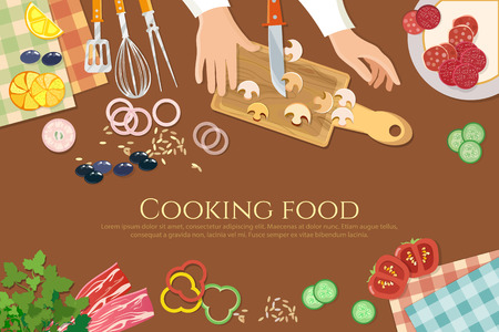 preparing food: Chef cooks preparing food cook hands on the kitchen table top view vector illustration