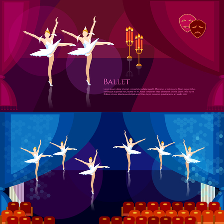 tiptoe: Ballet banner professional ballet ballerinas dancing on theater stage vector illustration