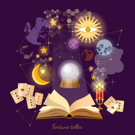 Fortune teller crystal ball in psychics magic book astrology signs vector illustration