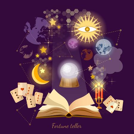 Adivino de la bola de cristal en los psíquicos libro mágico ilustración vectorial muestras de la astrología