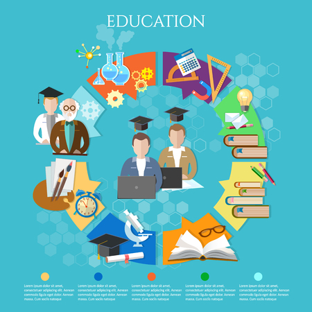 exams: Education infographic open book of knowledge elements of infographics education exams  professor and student learning vector illustration