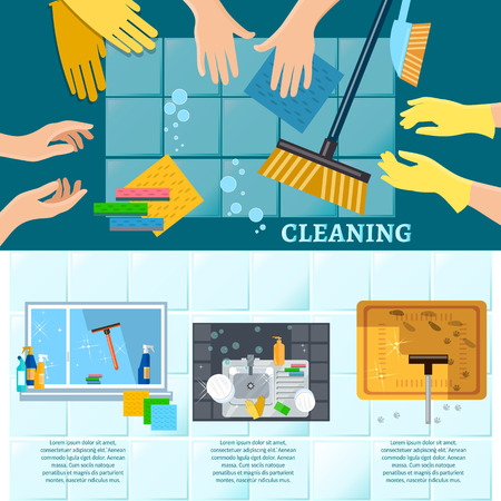 carpet cleaning service: Cleaning service banners home cleaning washing windows carpet cleaning tools hand wash vector illustration