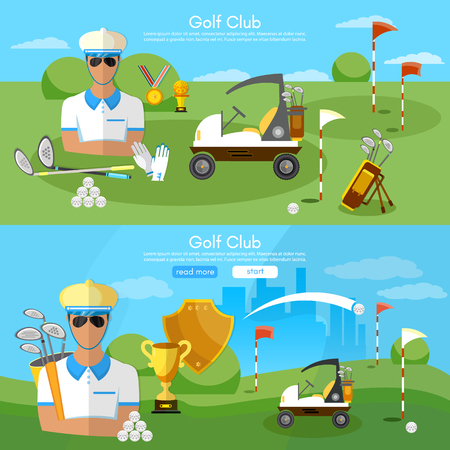 Golf club banners golfing elements game of golf man playing golf vector illustration