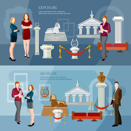 archaeological: Museum exposition banner people visiting antique museum excursion people in the art museum vector illustration