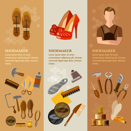 shoe repair: Shoemaker banners shoemaker in the workplace professional equipment cobbler shoe repair shoe care vector illustration Illustration