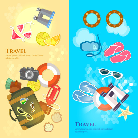 travel suitcase: Travel banners sea beach summer holiday travel suitcase passport flip flops vector illustration