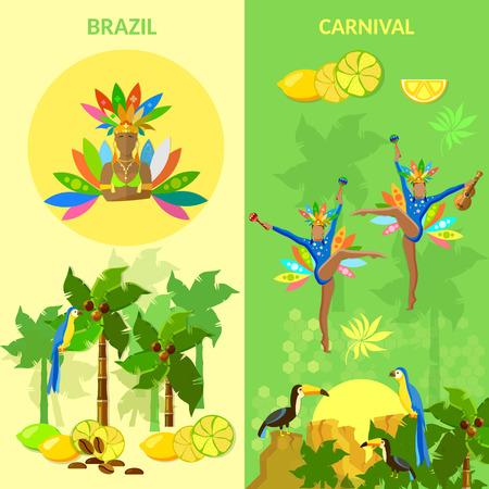 brazilian woman: Brazil banners brazilian woman carnival beautiful brazilian dancers dancing jungle Brazil vector illustration
