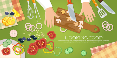 preparing food: Chef cooks preparing food top view cook handsclea on the kitchen table  vector illustration