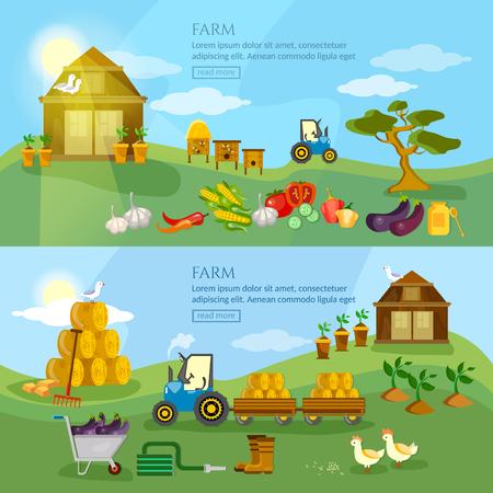 farmers market: Farm agriculture banner organic product natural food farmers market farm house farm products vector illustration Illustration