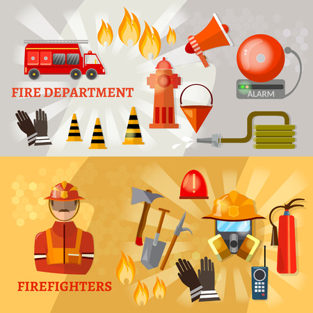 fire alarm: Professional firefighters banners fire safety equipment fireman fire hydrant fire alarm vector illustration Illustration