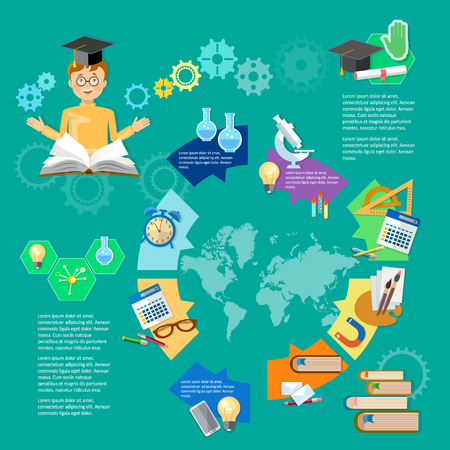 primary education: Education infographic diagram learning student knowledge studentgoes to school infographics primary education vector illustration Illustration