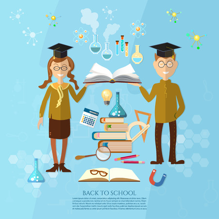 pedagogy: Education schoolboy and schoolgirl goes to school effective education power of knowledge stack of textbooks vector illustration