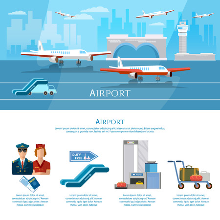 airline pilot: Airport infographics aircraft runway airline pilot stewardess baggage inspection scanner international airlines airport terminal vector illustration