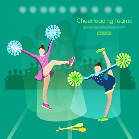 cheer leading: Cheerleading team school sports championship cheerleading stunt cheerleader pom poms vector illustration