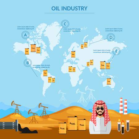 world trade: Oil industry infographics world oil trade sheiks in desert arab men eextraction and processing of oil vector illustration