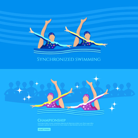 synchronized: Synchronized swimming banner girls team athletes swimming water sports vector illustration Illustration