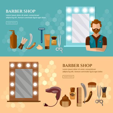 Barbiers boutique bannière outils de coiffure professionnel coiffure hippie vecteur barbe d'illustration