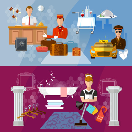 hotel staff: Hotel service banners hotel staff reservation motel vector illustration Illustration