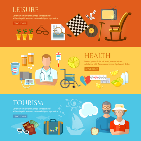 pension: Nursing home banners social care for the elderly retirement home pension hobbies pensioner active lifestyle vector illustration