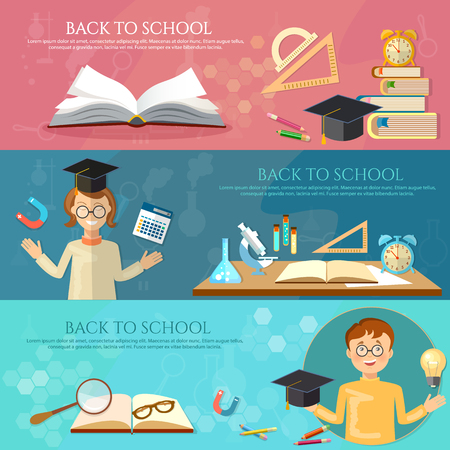 light classroom: Back to school banners education students learn  school tools vector illustration