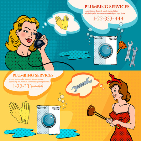calling art: Plumber banners woman calling plumber broken washing machine leak in the bathroom plumbing service pop art style vector illustration