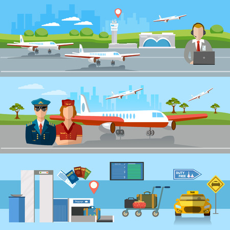 aerodrome: Airport banner airport terminal aircraft runway airline pilot stewardess baggage inspection scanner international airlines vector illustration
