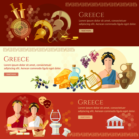 amphitheater: Ancient Greece banner tradition and culture ancient history greek helmet people greece vector illustration Illustration