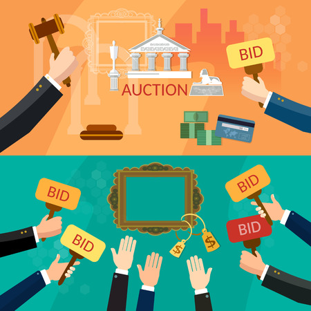 antiques: Auction and bidding banners selling antiques sale paintings art object culture auction bidding concept vector illustration