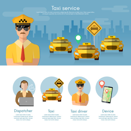 dispatcher: Taxi service banner taxi call book a taxi to the city dispatcher vector illustration Illustration