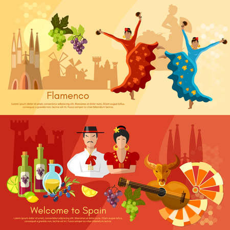 spanish dancer: Spain banners traditions and culture spanish attractions vector illustration