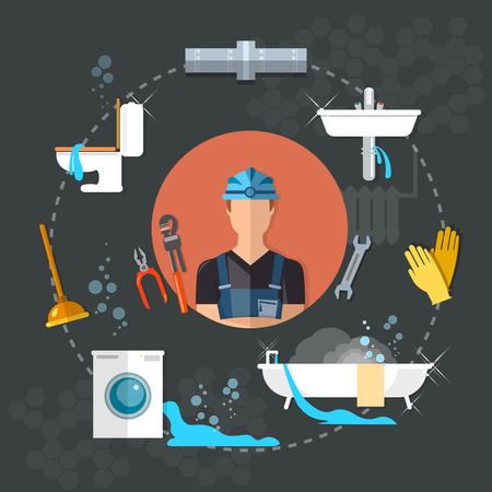 servicing: Professional plumber different tools and accessories plumbing repair service vector illustration