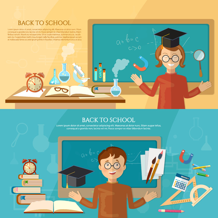 schooldesk: Education banner back to school student at the school board  education background vector illustration
