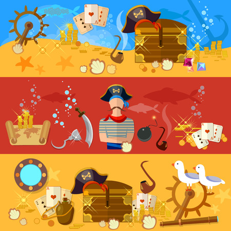 portholes: Pirate adventure banners underwater treasure pirate chest with gold steering wheel vector illustration Illustration