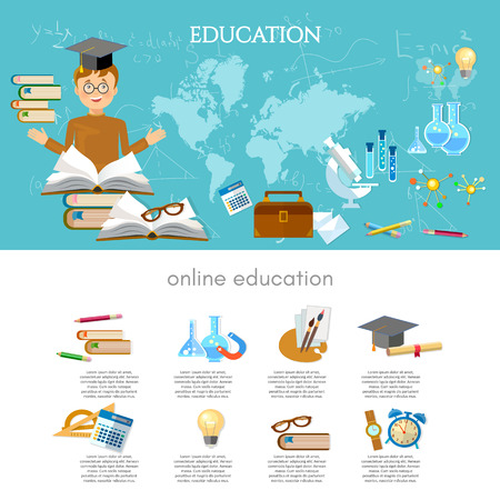 institute: Education infographic international training elements student learning vector illustration Illustration
