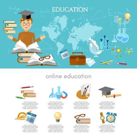 Education infographic international training elements student learning vector illustration Illustration