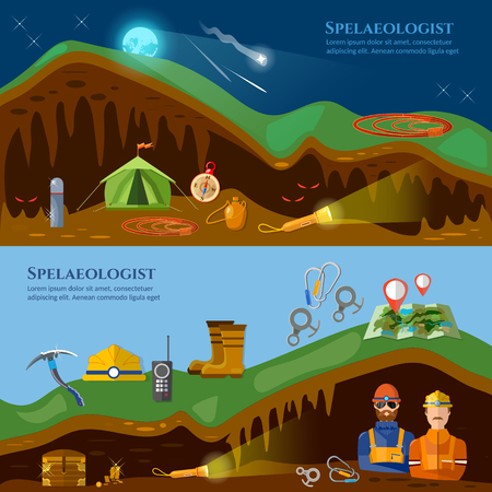 mines: Speleology banners caves study underground mines climbers exploring caves vector illustration