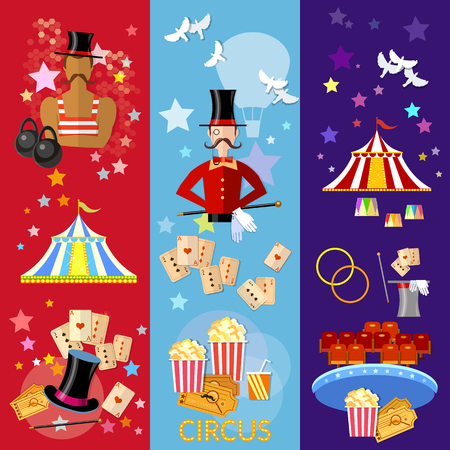 strongman: Circus banner performance strongman magician magic tricks circus show vector illustration