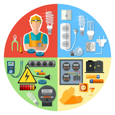 Professional electrician with electricity tools vector illustration