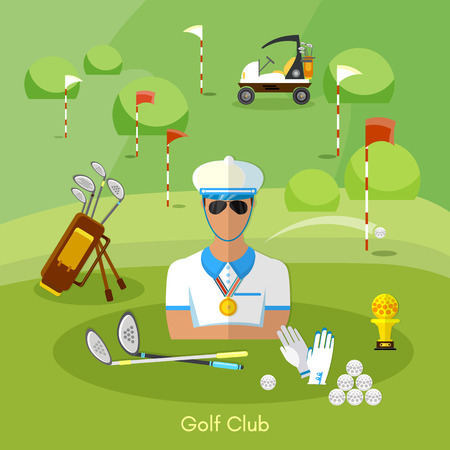 course of action: Golf club set vector illustration
