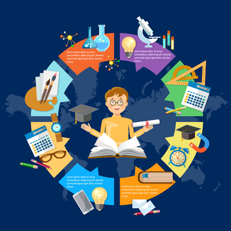 Education infographic diagram knowledge student learning  goes to school vector illustration