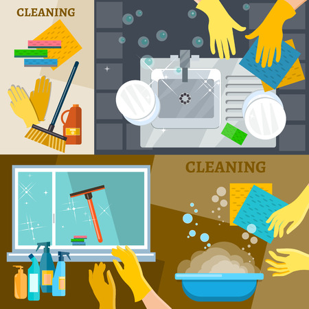 cleaning windows: Cleaning service banners hand wash dishes cleaning windows and carpets vector illustration Illustration