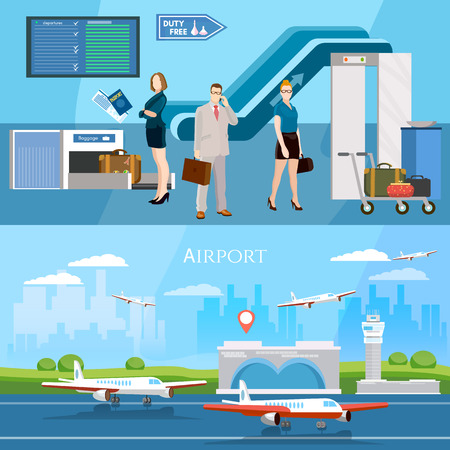 airlines: People in airport banner runway international airlines vector illustration
