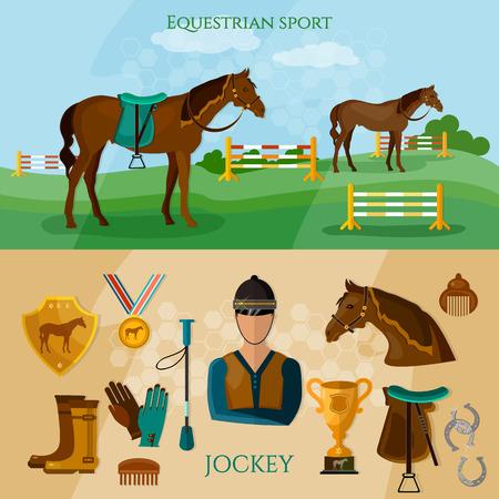 equestrian sport: Equestrian sport banner professional jockey horse riding vector illustration Illustration