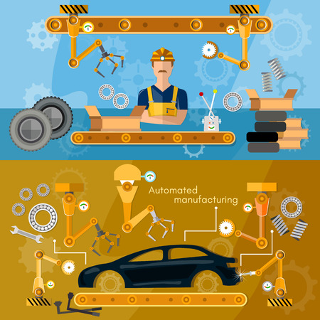 automotive industry: Car assembly line banner conveyor belt operator automotive industry vector illustration